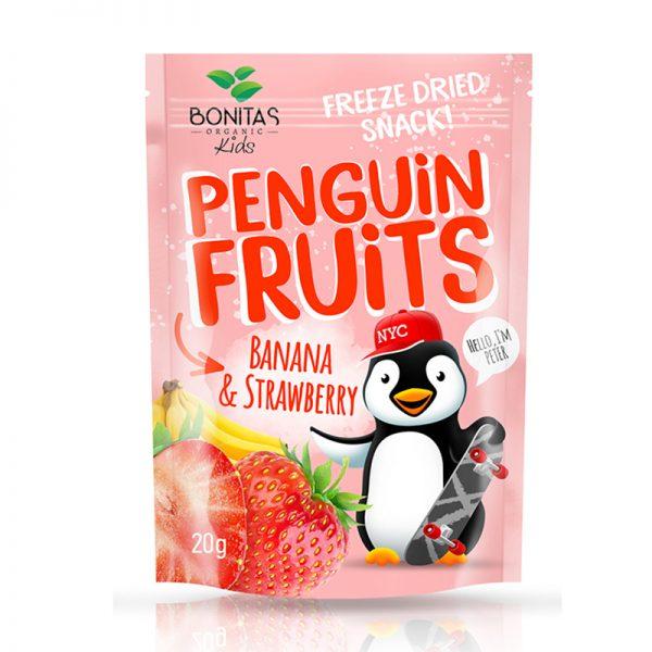 BONITAS ORGANIC BIO zmes sušených banánov a jahôd Penguin Fruits 15 g