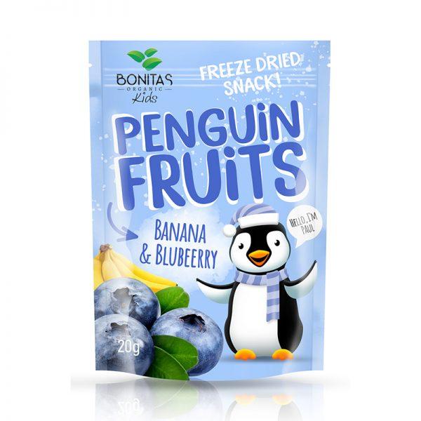 BONITAS ORGANIC BIO zmes sušených banánov a čučoriedok Penguin Fruits 15 g