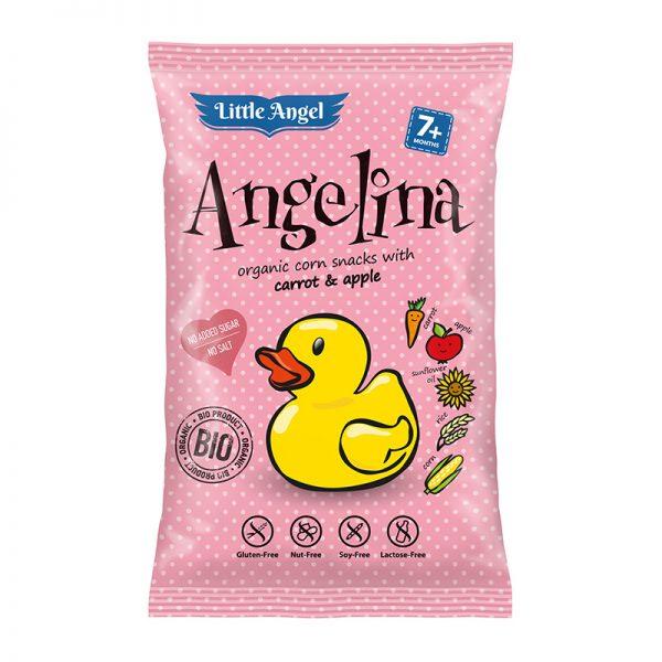 MC Lloyds Little Angel Angelina BIO kukuričné chrumky s mrkvou a jablkom 30 g