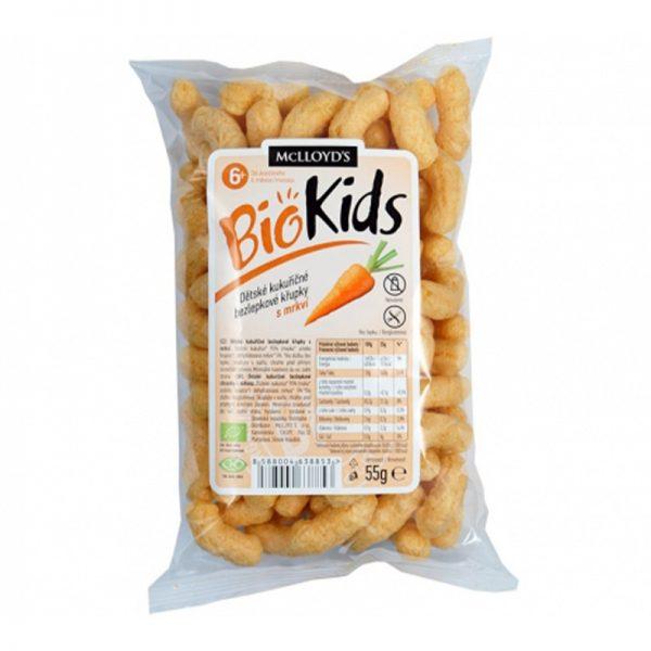 MC Lloyds BioKids detské kukuričné bezlepkové chrumky s mrkvou 55 g