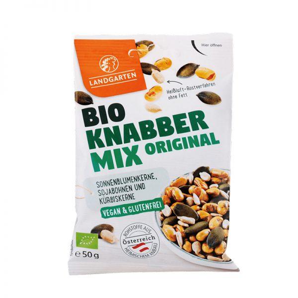 Landgarten Organický mix Knabber Original, slnečnicové jadierka, sójové bôby a tekvicové jadierka 50 g