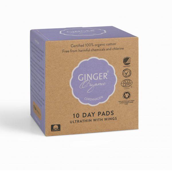 Ginger Organic vložky denné 10 kusov ultra tenké